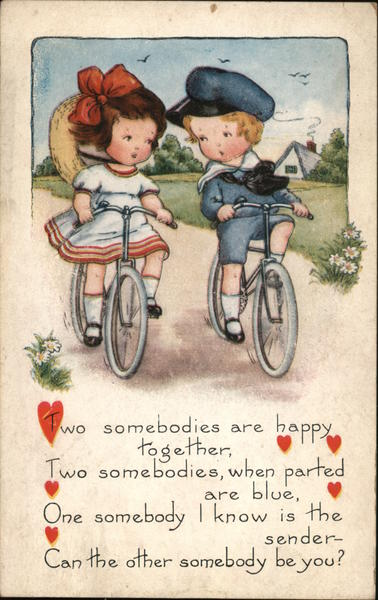 Boy and Girl Riding Bicycles Romance & Love
