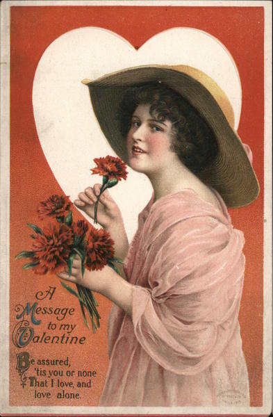 A Message to my Valentine - Woman with Flowers Women