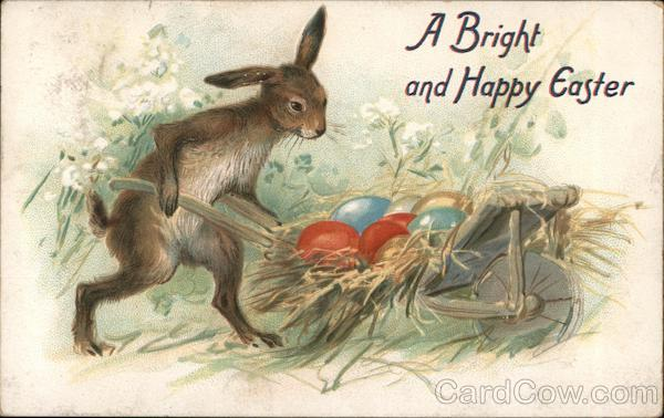 A Bright Happy Easter - Bunny Carrying Eggs in a Wheelbarrow