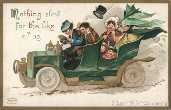 Family speeding in a green car: Nothing slow for the like of us