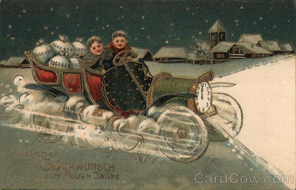 Children riding clock car: Best wishes for the new year!