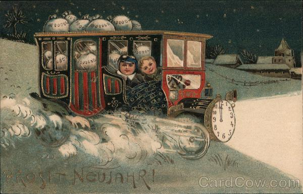 Children riding clock train: Happy New Year!
