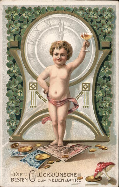 A child toasting the new year in at the stroke of the new year with a glass of champagne