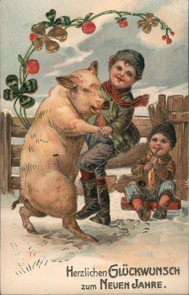 Children playing in the snow with a pig Pigs