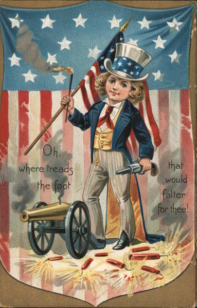 Little girl, in Uncle Sam suit, holding a flag and shooting fireworks/cannon.