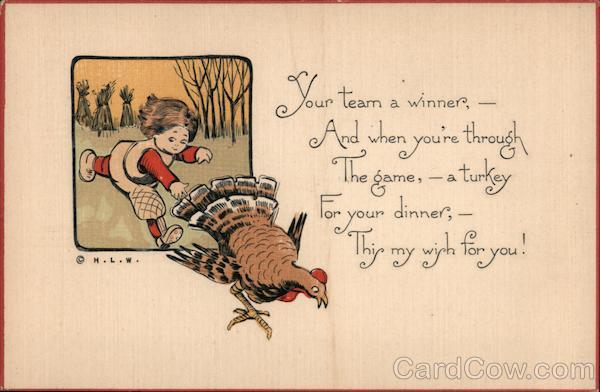 Girl Chasing a Turkey Children