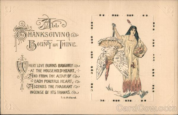 All Thanksgiving Bounty Be Thine - Native Woman Holding Turkey