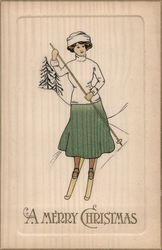 A Merry Christmas - A Woman Skiing Postcard