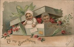 To my Sweetheart - Babies in a box with flowers