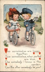 Boy and Girl Riding Bicycles Postcard