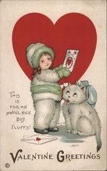 Valentine Greetings - Girl Giving a Valentine to a Cat