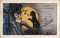 Halloween - Owl, Black Cat, Full Moon
