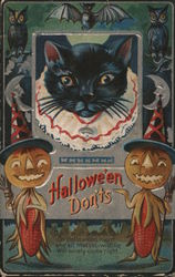 Halloween Don'ts Black Cat and Two Corn Scarecrows