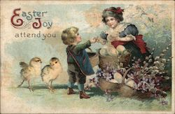 "Children with chicks: ""Easter joy attend you"""