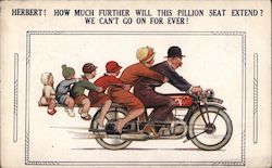 Man Riding Motorbike with Family Extended off Rear Postcard
