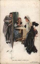 """You Will Marry A Dark Man"" - Woman Having Fortune Told, Man Listening Behind Wall Postcard"