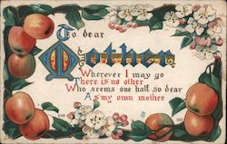 To Dear Mother - Apples and Flowers Postcard
