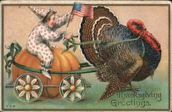 Thanksgiving Greetings - Child Riding on Pumpkin Pulled by a Turkey