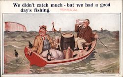 "Two men drinking in a boat: ""We didn't catch much - but we had a good day's fishing."""