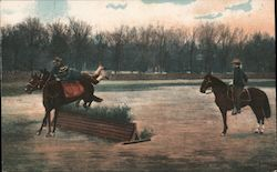 Two Men on Horses Jumping Fences