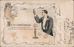 To My Absent Friends - Man Raising his Glass Postcard
