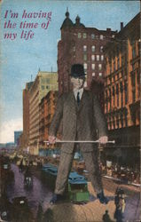 Giant manin suit, standing in busy downtown street, with a trolley passing between his legs Postcard