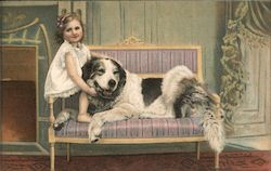 Little Girl and Dog on Settee