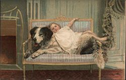 Little girl laying on her dog on a chair
