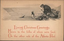 Santa giving mermaid a Christmas letter with an American Flag in the water next to mermai Postcard