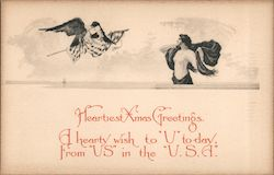 Heartiest Xmas Greetings - A Man and an Eagle Postcard