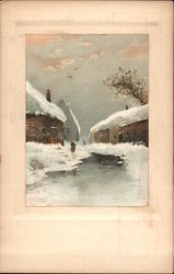 Snow scene with a Person by a River and Houses