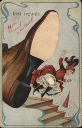"Giant shoe knocking girl down stairs: ""Best Regards Postcard"