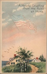 "A hearty greeting from the folks at home"" patriotic greeting Postcard"
