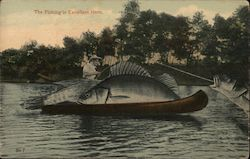 "Giant fish in a canoe: ""The fishing is excellent here Postcard"