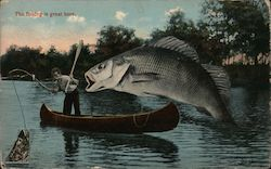 "The fishing is great here""- Man in Canoe w/ Large Fish in Lake Postcard"