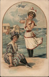 Two Women in Swimsuits, circa early 1900s Postcard