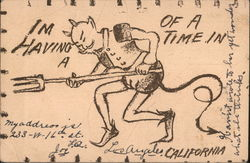 The drawing of the devil with a pitchfork Postcard