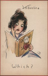 Valentine Which? - Woman Looking at Book 'Dollars and Sense' Comic Postcard