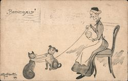 A Woman Sitting with a Dog and a Cat Postcard