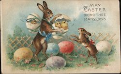 May Easter Bring Thee Many Joys - Two Rabbits with Chicks and Eggs