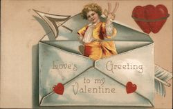 Boy Emerging from Envelope: Love's Greeting to my Valentine