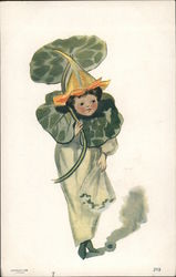 Child wearing lily pads Postcard