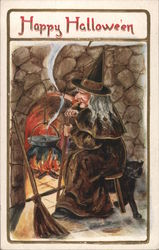 Witch Watching Cauldron in Fireplace
