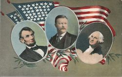 Abraham Lincoln, Theodore Roosevelt, George Washington Postcard