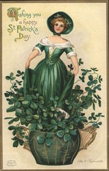 Wishing you a happy St. Patrick's Day, Girl wearing green with a bonnet in a vase filled with clover