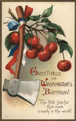 Greetings on Washington's Birthday - Hatchet Tied with Cherries
