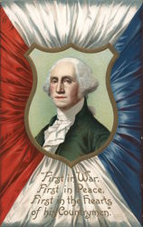 President George Washington in a Crest with Red, White and Blue Cloth Border