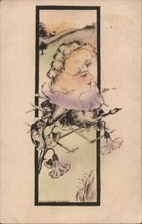 A Woman's Head Coming Out of a Flower Postcard