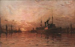 S.S. Onward of the S.E.L.C. & D. Railway Co. entering Boulogne Harbour at sunset