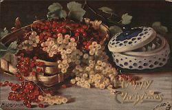 Merry Christmas - Red & White Holly Berries in a Basket